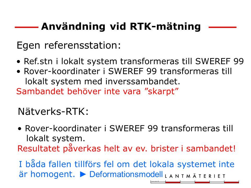 Användning vid RTK-mätning