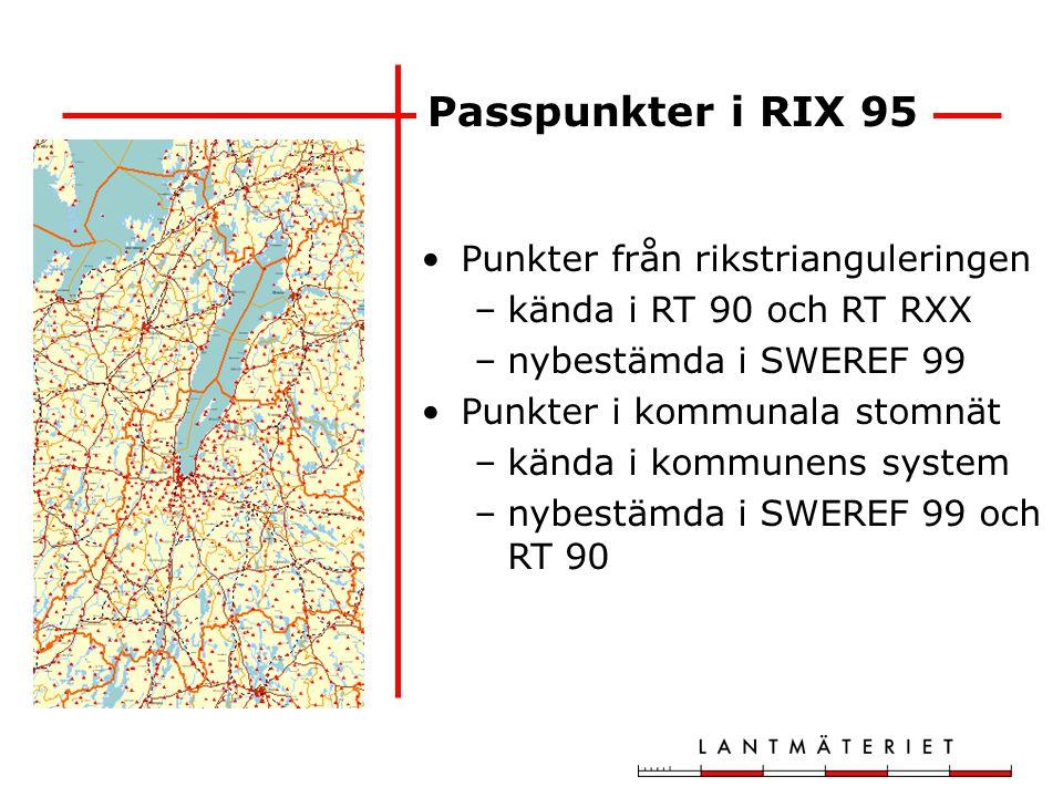 Passpunkter i RIX 95 Punkter från rikstrianguleringen