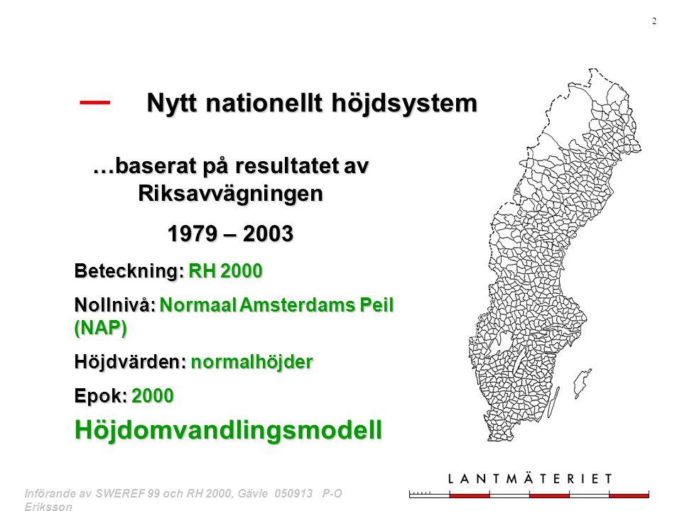 Nytt nationellt höjdsystem …baserat på resultatet av Riksavvägningen