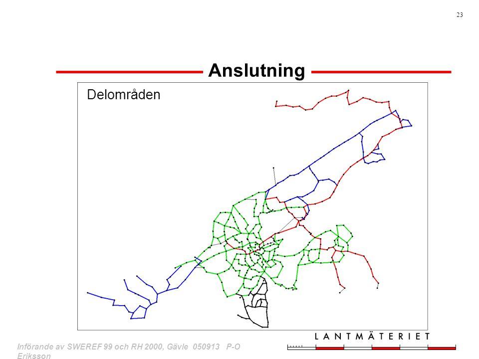 Anslutning Delområden rött:mätt av LMV 1976 för anslutning.