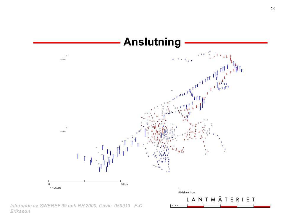 Anslutning Bilden visar höjddiffar mellan nyberäknade RH70B-höjder efter. anslutning och lokala höjder efter tillägg av tidigare.