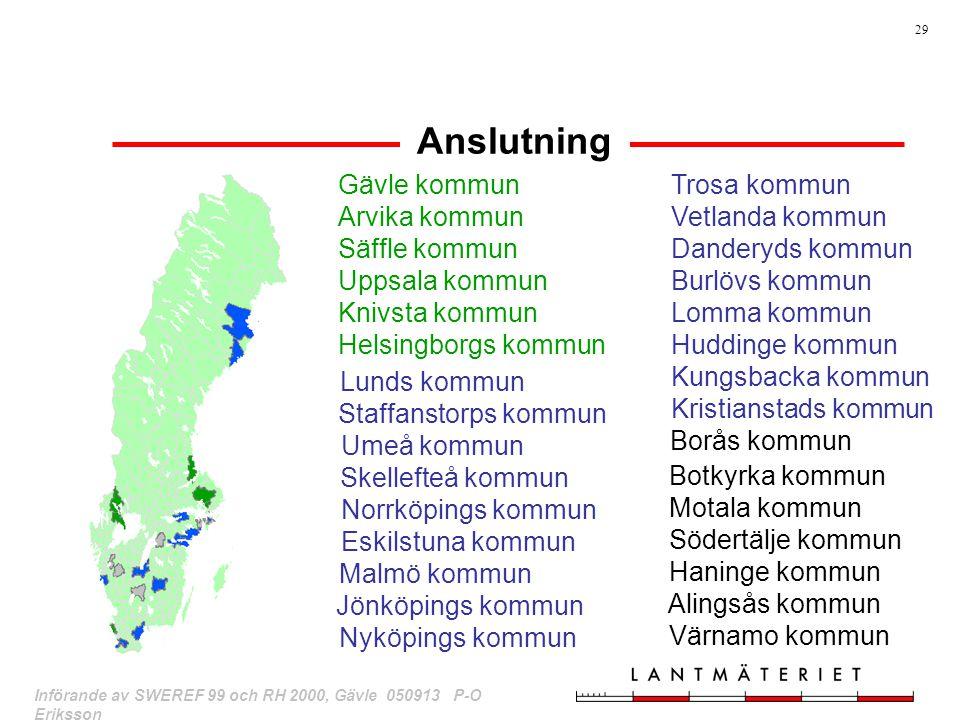 Anslutning Borås kommun Gävle kommun Arvika kommun Säffle kommun