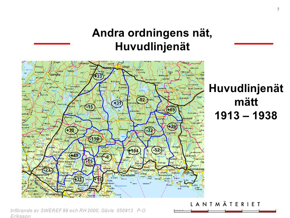 Andra ordningens nät, Huvudlinjenät Huvudlinjenät mätt 1913 – 1938