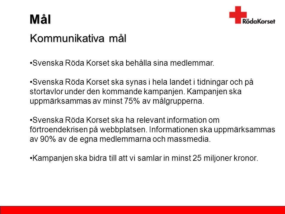 Mål Kommunikativa mål Svenska Röda Korset ska behålla sina medlemmar.