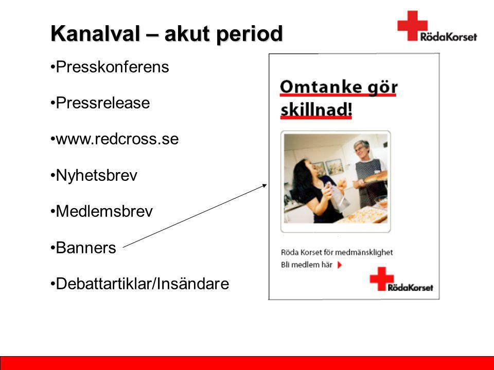 Kanalval – akut period Presskonferens Pressrelease www.redcross.se