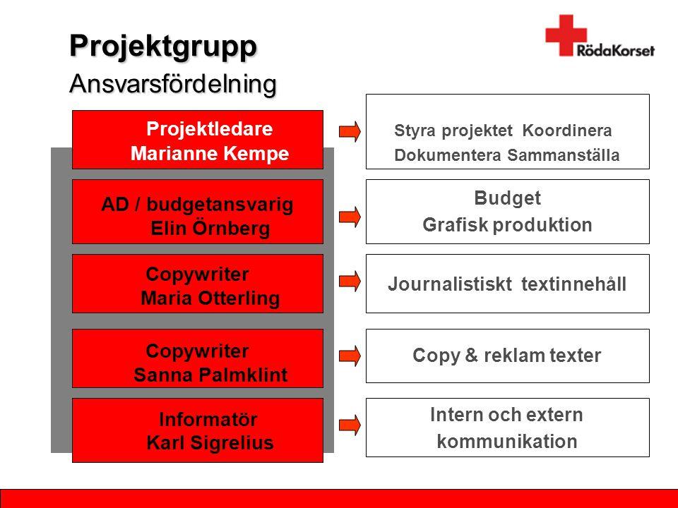 Projektgrupp Ansvarsfördelning Projektledare Marianne Kempe