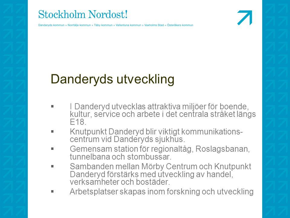 Danderyds utveckling I Danderyd utvecklas attraktiva miljöer för boende, kultur, service och arbete i det centrala stråket längs E18.
