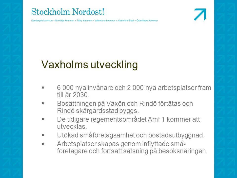 Vaxholms utveckling 6 000 nya invånare och 2 000 nya arbetsplatser fram till år 2030.