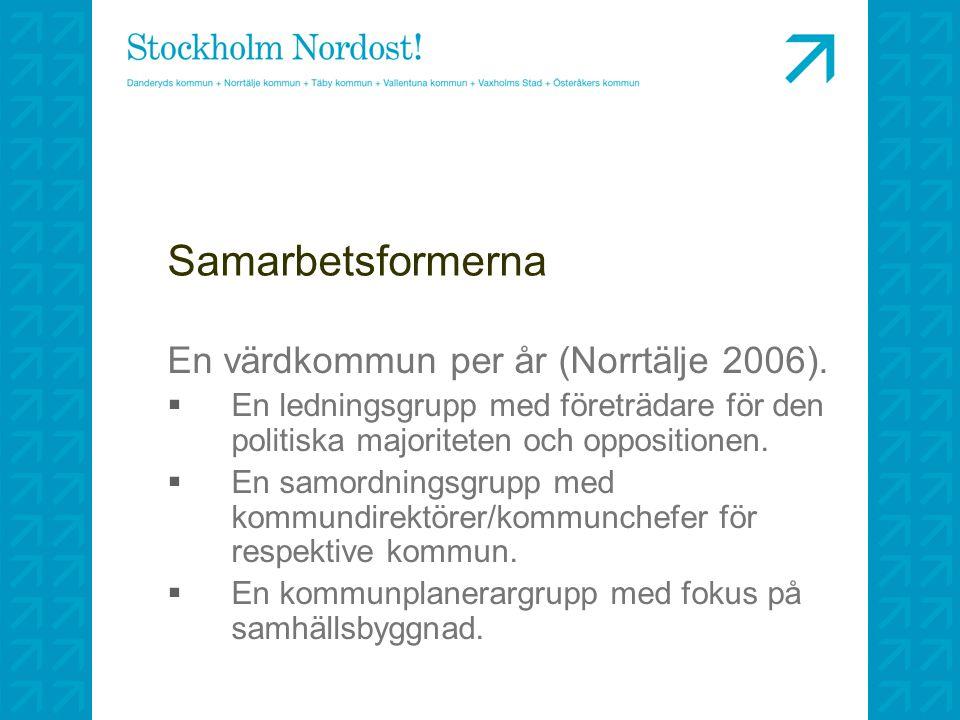Samarbetsformerna En värdkommun per år (Norrtälje 2006).