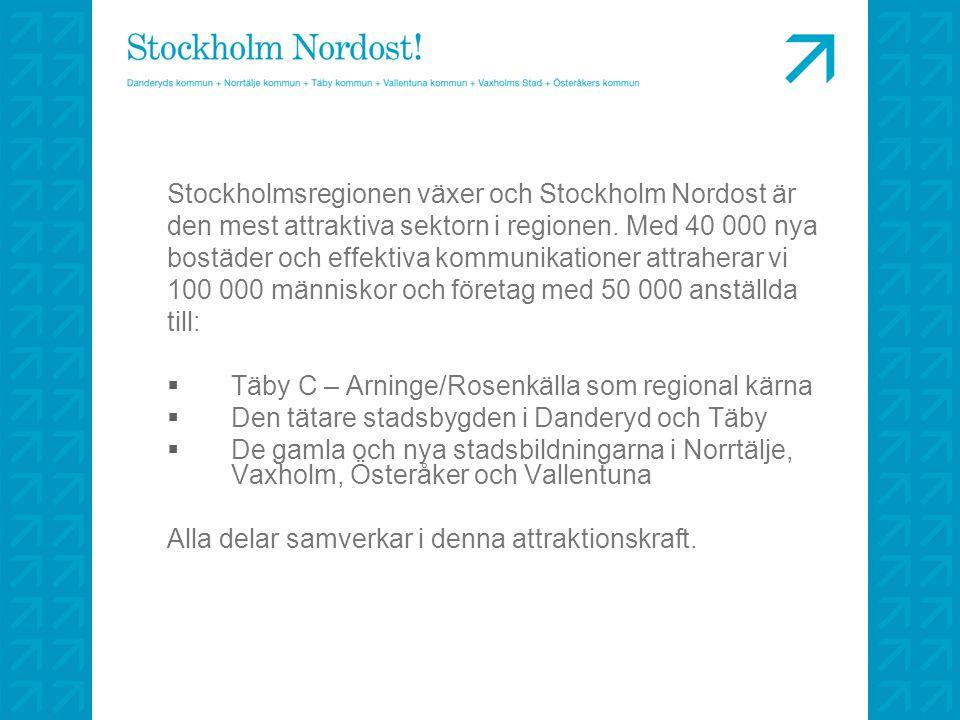 Stockholmsregionen växer och Stockholm Nordost är