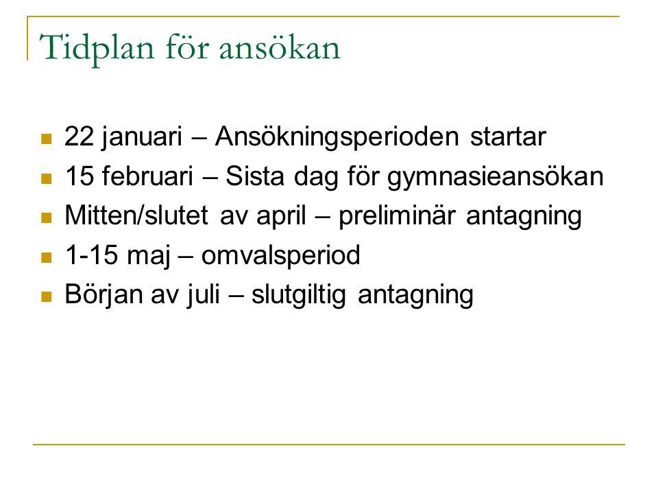 Tidplan för ansökan 22 januari – Ansökningsperioden startar