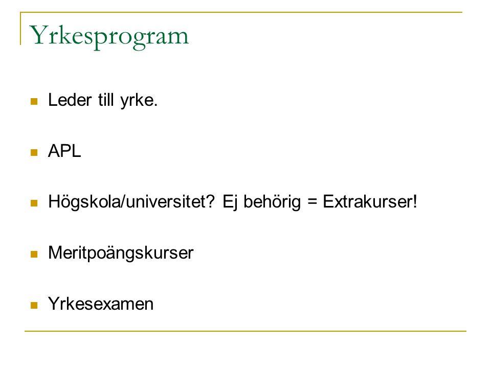 Yrkesprogram Leder till yrke. APL