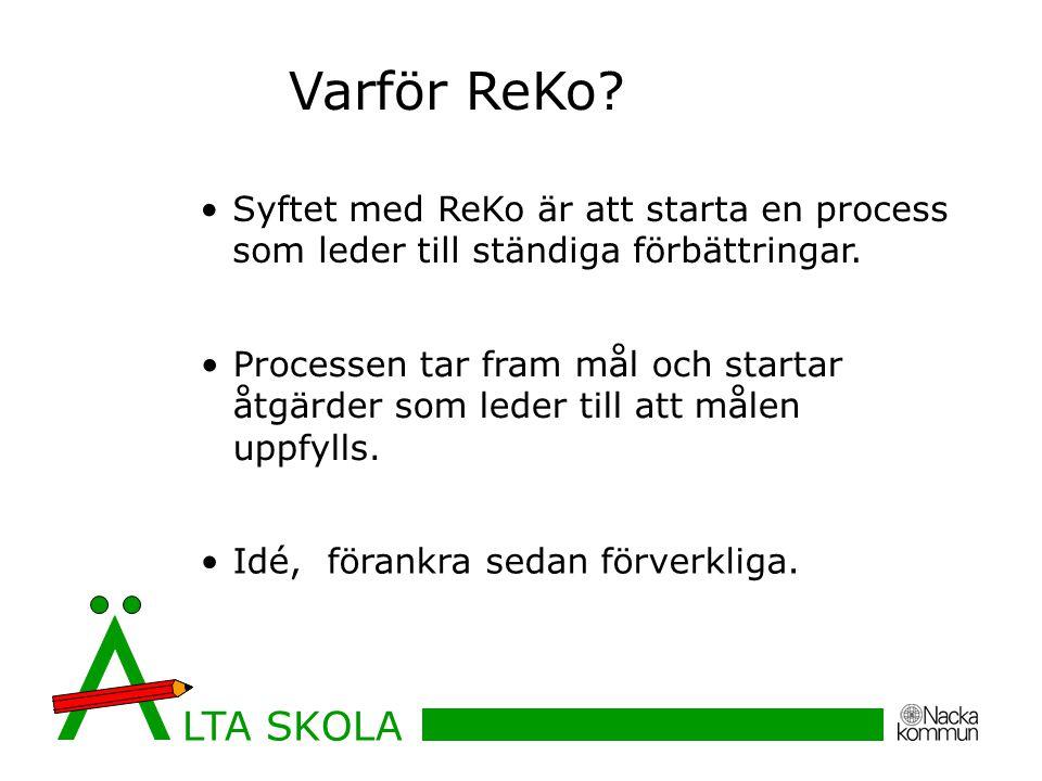 Varför ReKo Syftet med ReKo är att starta en process som leder till ständiga förbättringar.