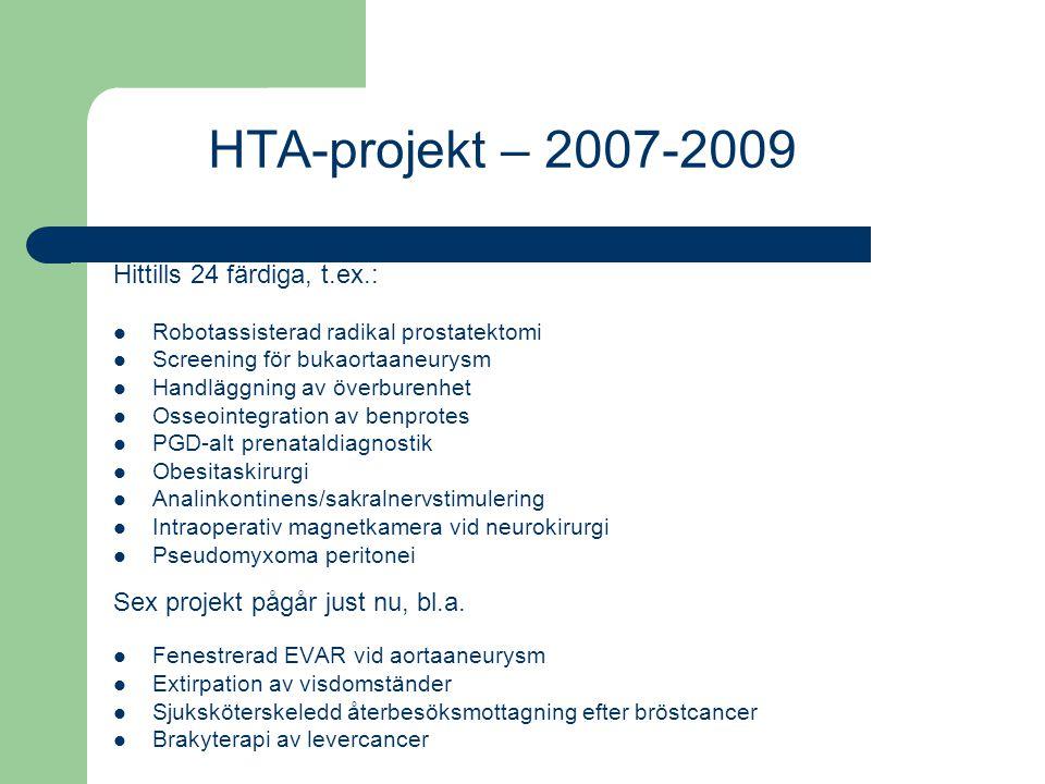 HTA-projekt – 2007-2009 Hittills 24 färdiga, t.ex.: