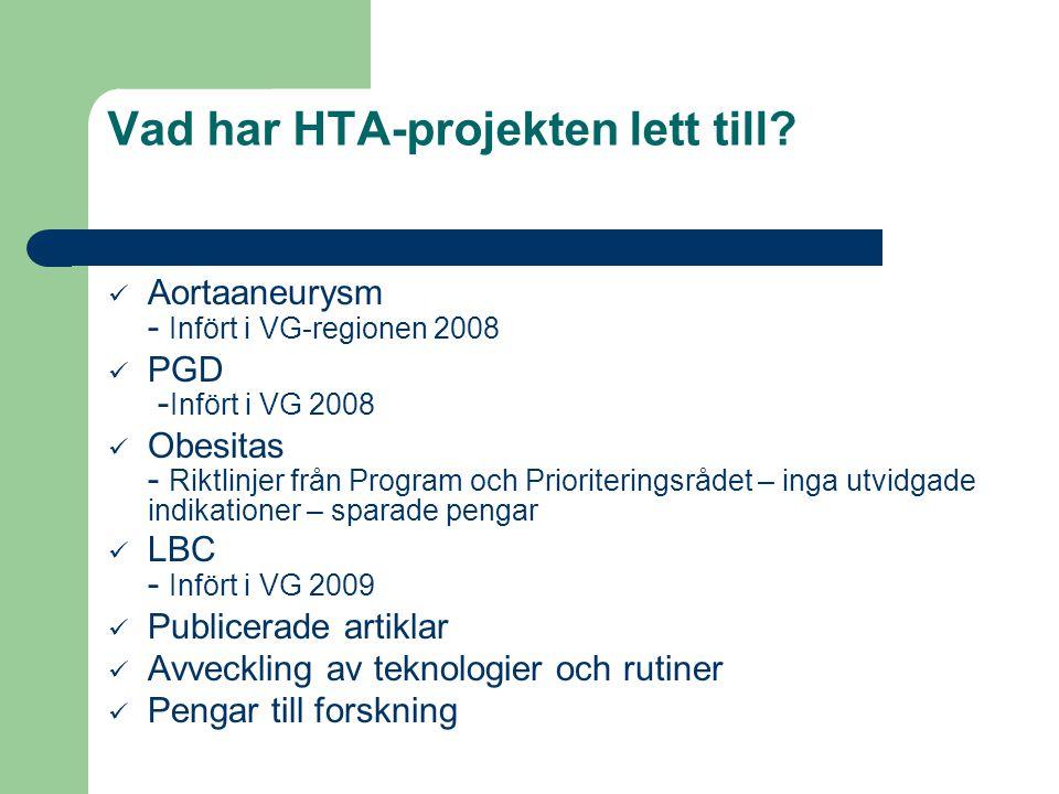 Vad har HTA-projekten lett till