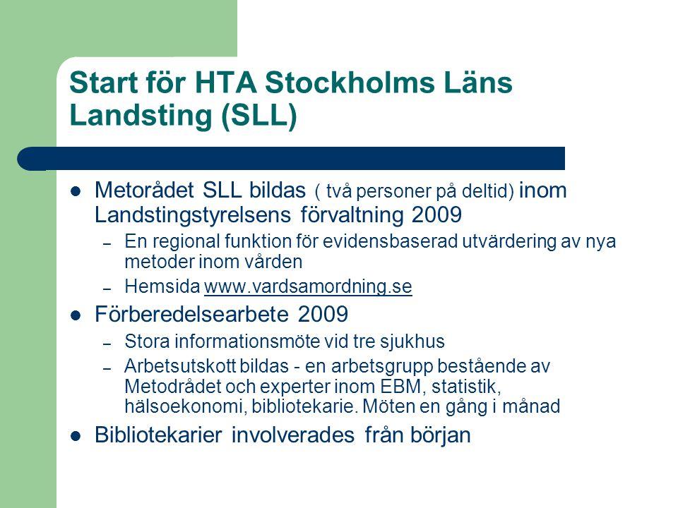 Start för HTA Stockholms Läns Landsting (SLL)