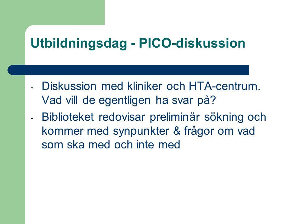 Utbildningsdag - PICO-diskussion