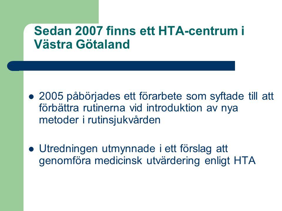 Sedan 2007 finns ett HTA-centrum i Västra Götaland