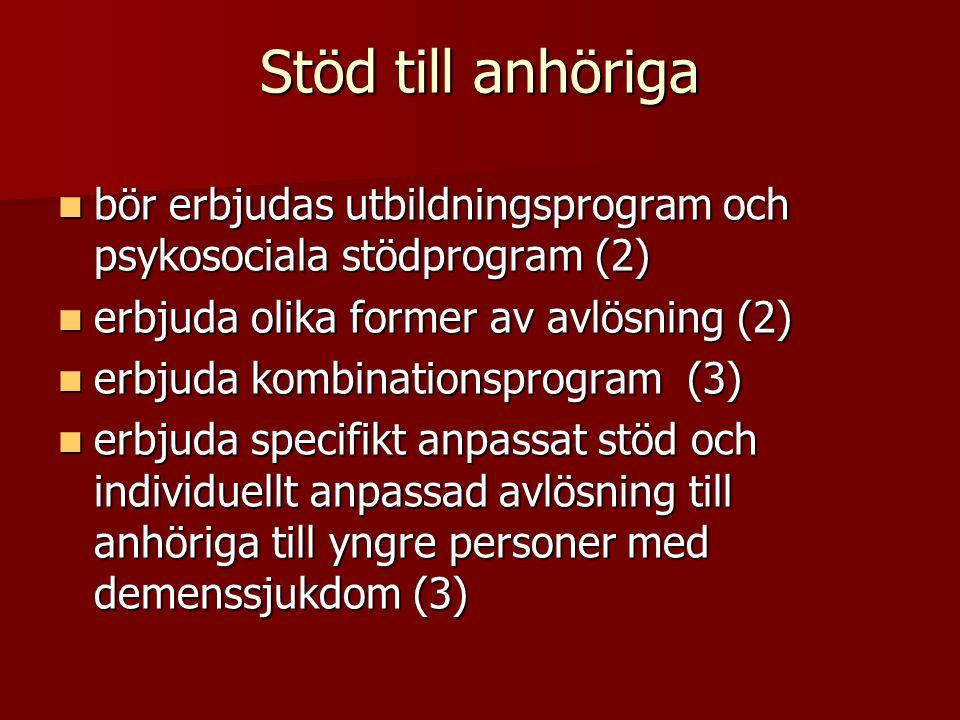 Stöd till anhöriga bör erbjudas utbildningsprogram och psykosociala stödprogram (2) erbjuda olika former av avlösning (2)