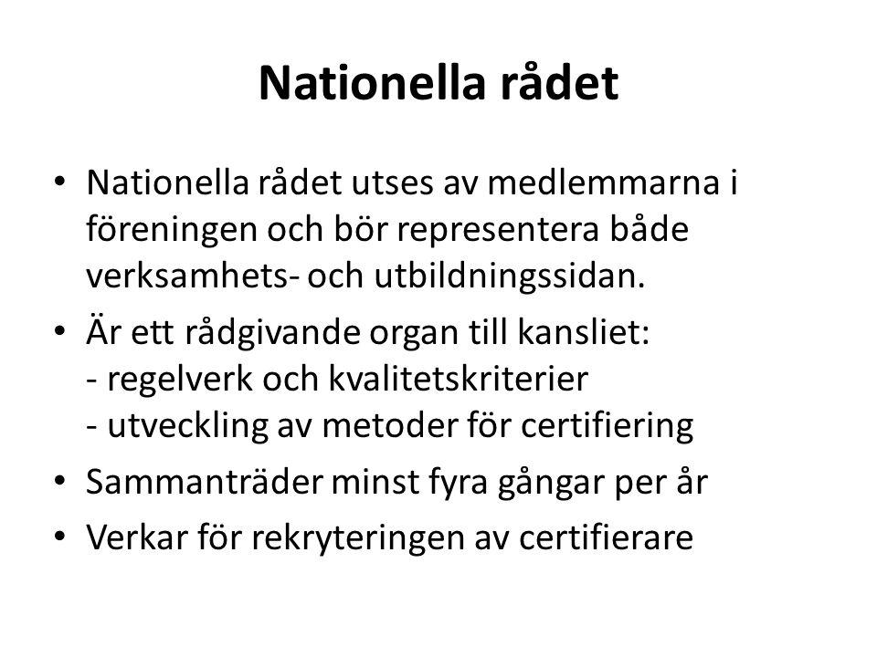 Nationella rådet Nationella rådet utses av medlemmarna i föreningen och bör representera både verksamhets- och utbildningssidan.