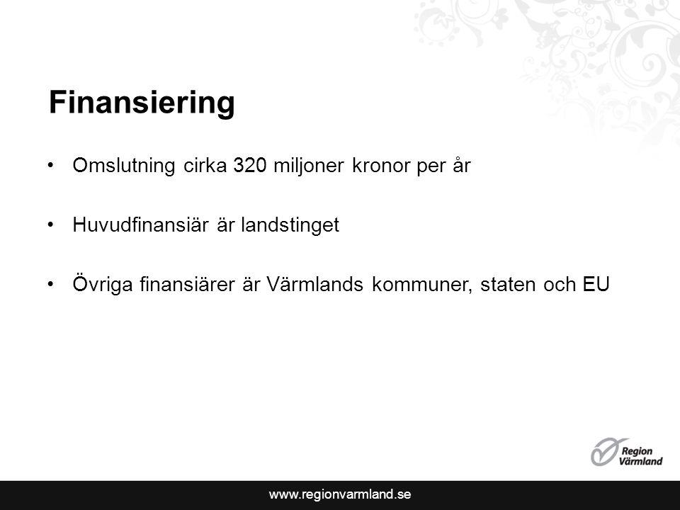 Finansiering Omslutning cirka 320 miljoner kronor per år