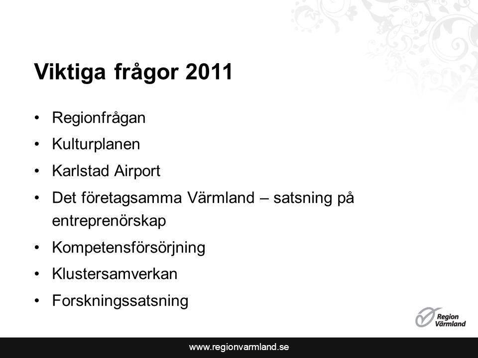 Viktiga frågor 2011 Regionfrågan Kulturplanen Karlstad Airport