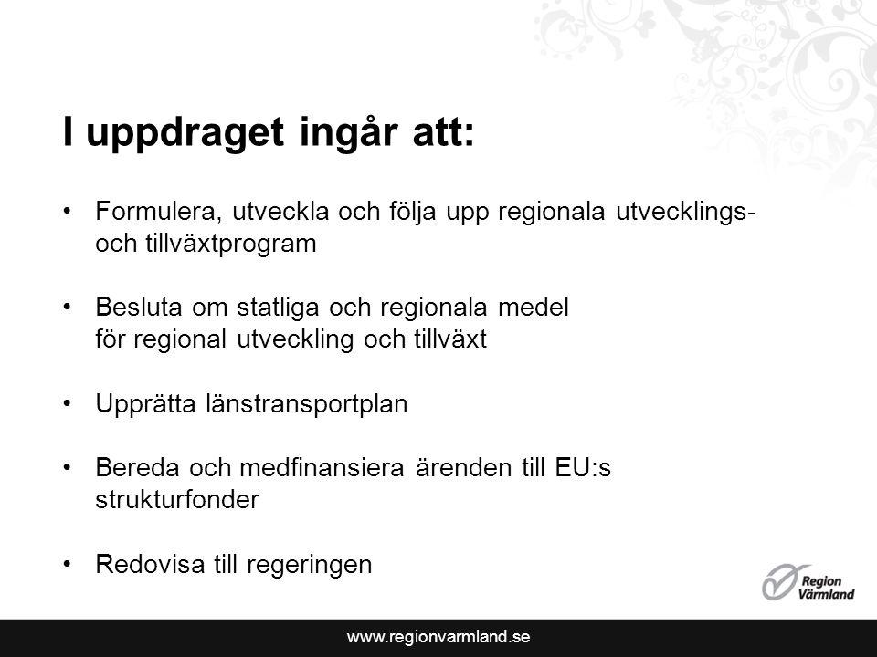 I uppdraget ingår att: Formulera, utveckla och följa upp regionala utvecklings- och tillväxtprogram.