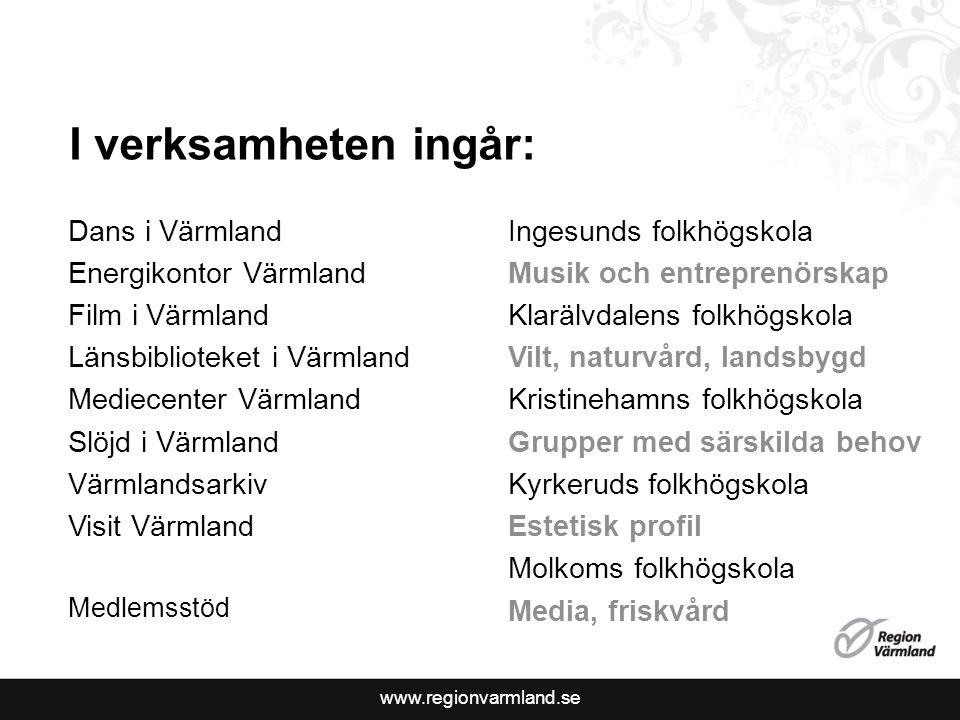 I verksamheten ingår: Dans i Värmland Energikontor Värmland
