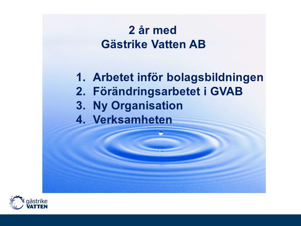 2 år med Gästrike Vatten AB. Arbetet inför bolagsbildningen. Förändringsarbetet i GVAB. Ny Organisation.