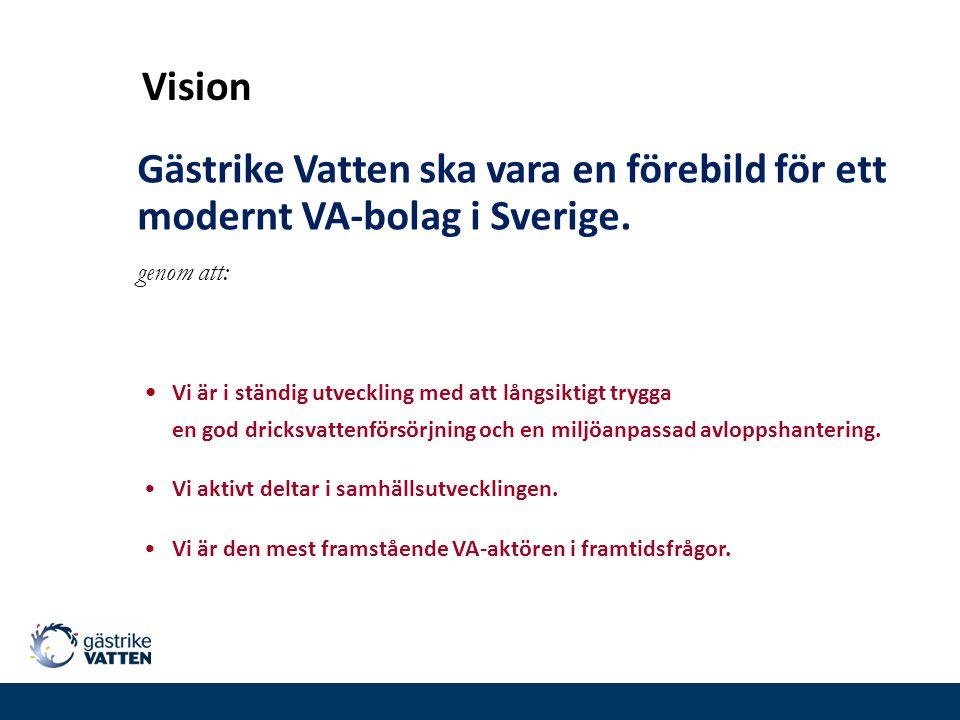 Vision Gästrike Vatten ska vara en förebild för ett modernt VA-bolag i Sverige. genom att: Vi är i ständig utveckling med att långsiktigt trygga.