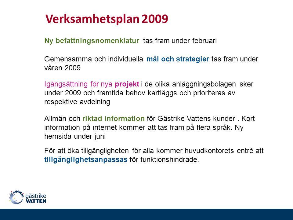 Verksamhetsplan 2009 Ny befattningsnomenklatur tas fram under februari