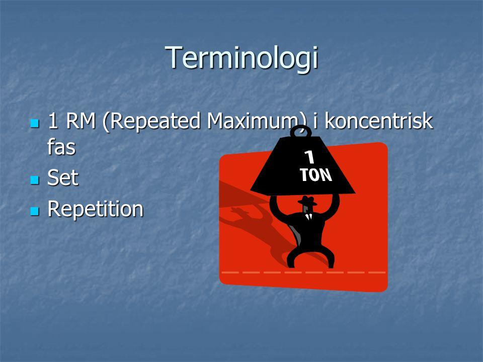 Terminologi 1 RM (Repeated Maximum) i koncentrisk fas Set Repetition