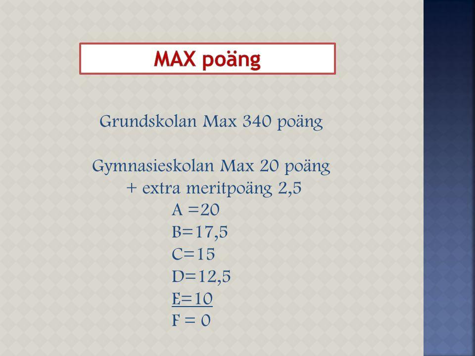 Gymnasieskolan Max 20 poäng