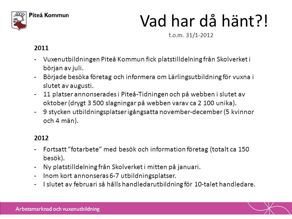 Vad har då hänt ! t.o.m. 31/1-2012. 2011. Vuxenutbildningen Piteå Kommun fick platstilldelning från Skolverket i början av juli.