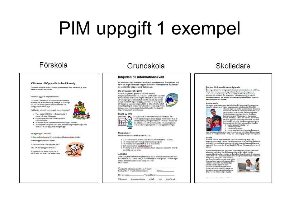 PIM uppgift 1 exempel Förskola Grundskola Skolledare
