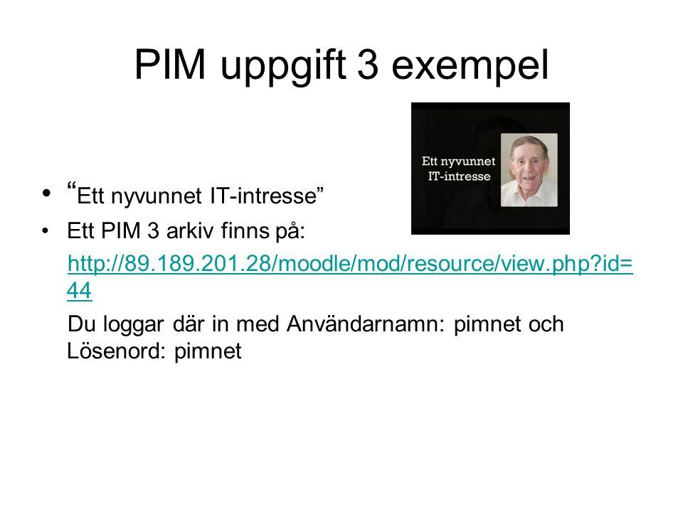 PIM uppgift 3 exempel Ett nyvunnet IT-intresse
