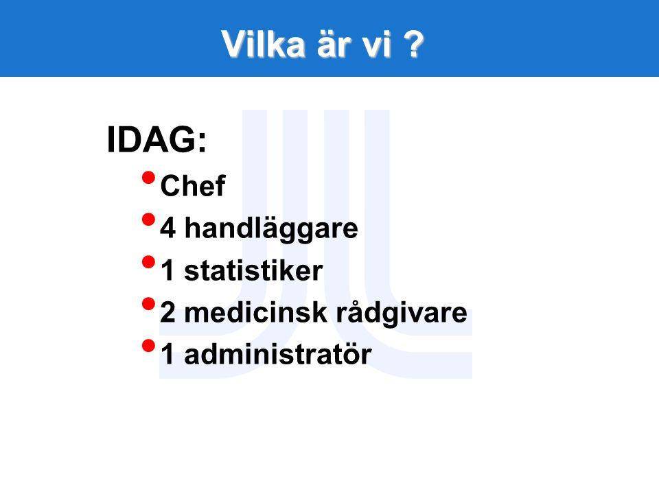 Vilka är vi IDAG: Chef 4 handläggare 1 statistiker