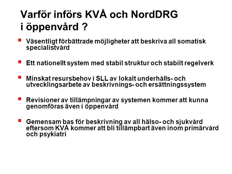 Varför införs KVÅ och NordDRG i öppenvård