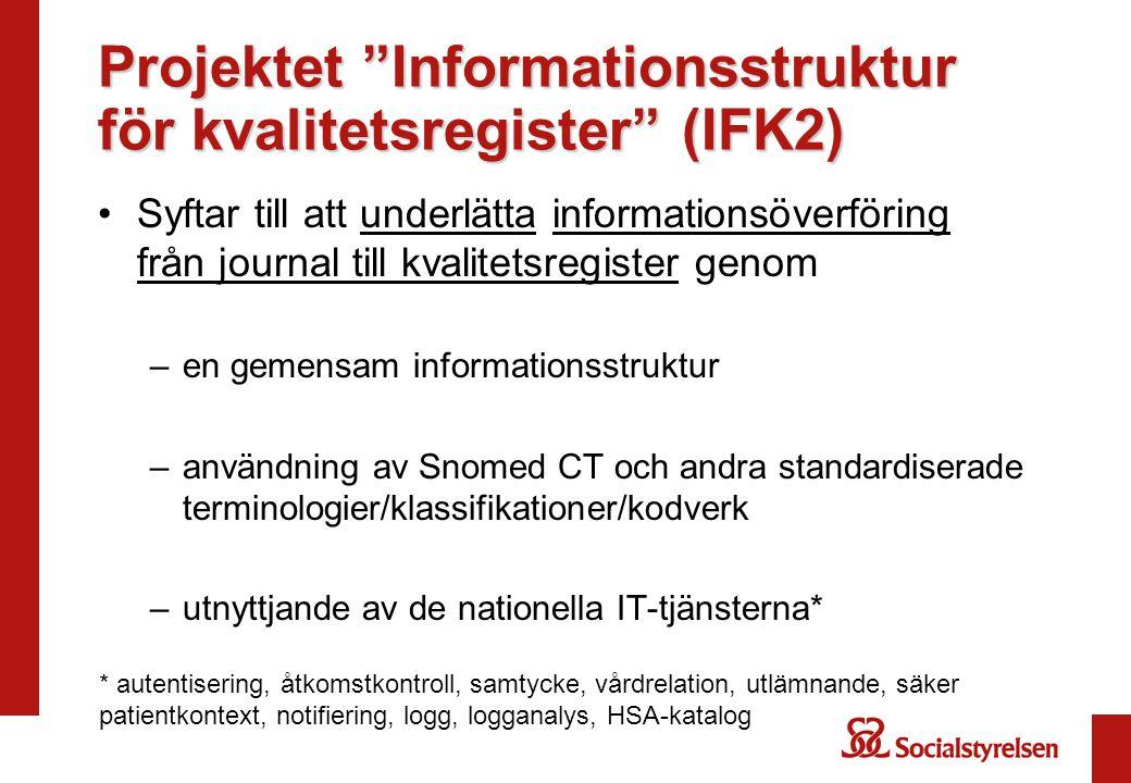 Projektet Informationsstruktur för kvalitetsregister (IFK2)