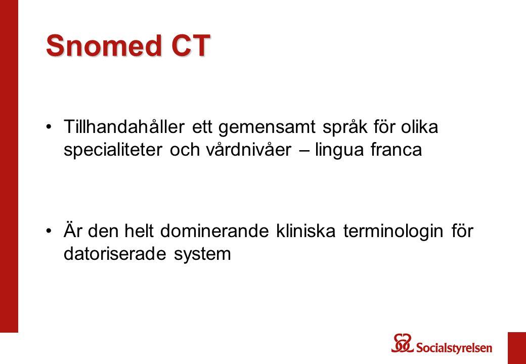 Snomed CT Tillhandahåller ett gemensamt språk för olika specialiteter och vårdnivåer – lingua franca.