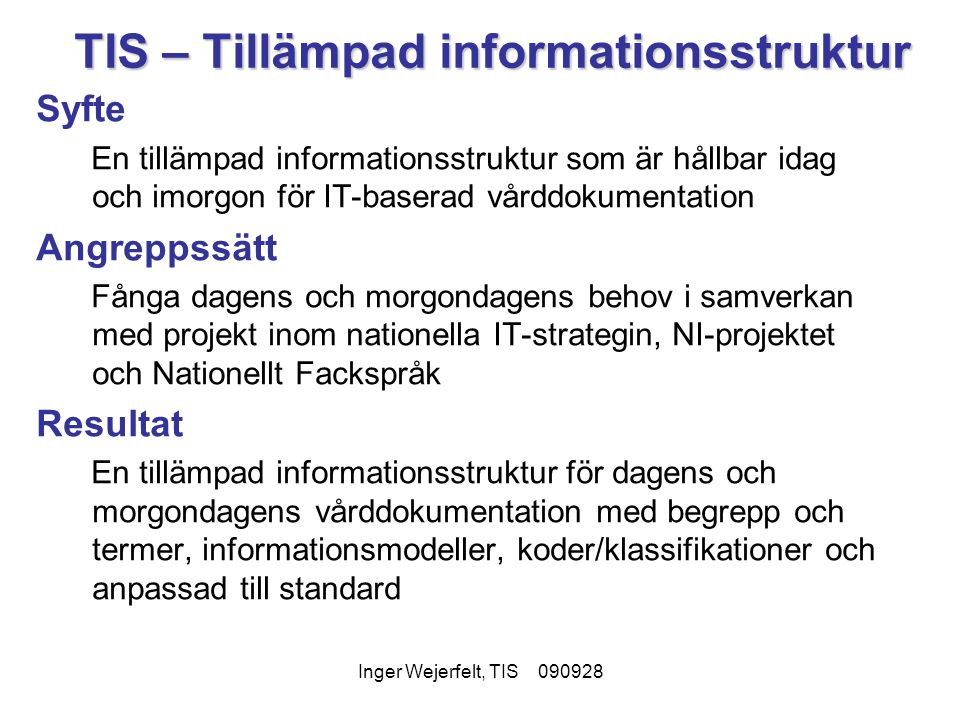 TIS – Tillämpad informationsstruktur