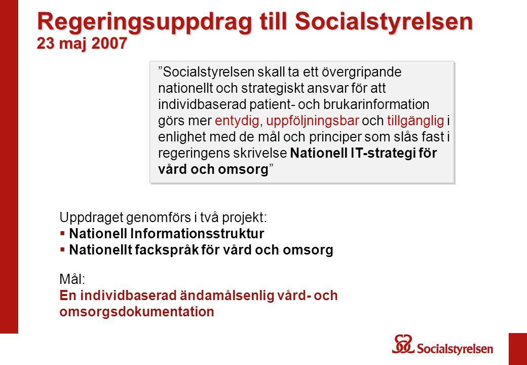 Regeringsuppdrag till Socialstyrelsen 23 maj 2007