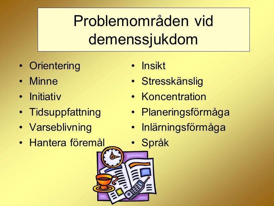 Problemområden vid demenssjukdom