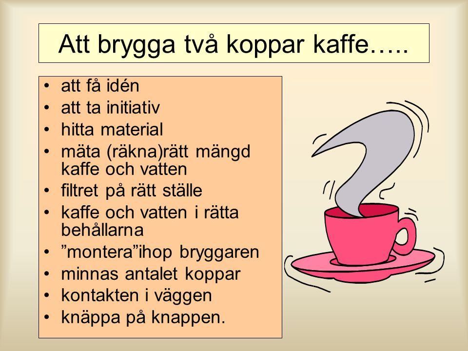 Att brygga två koppar kaffe…..