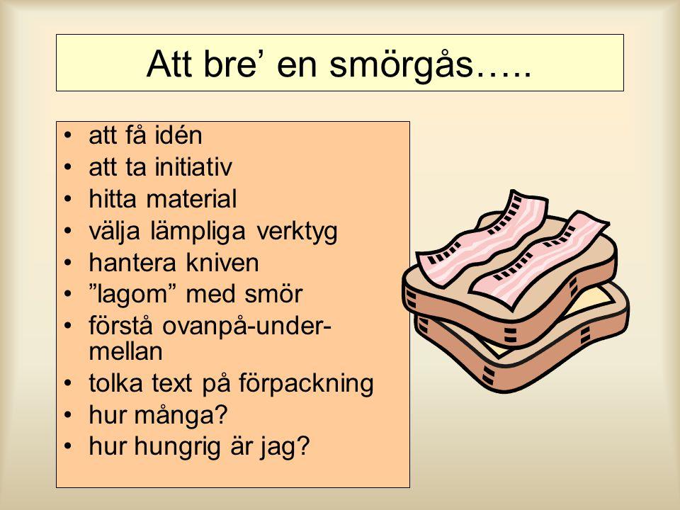 Att bre' en smörgås….. att få idén att ta initiativ hitta material