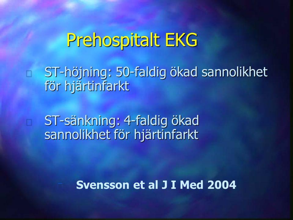 Prehospitalt EKG ST-höjning: 50-faldig ökad sannolikhet för hjärtinfarkt. ST-sänkning: 4-faldig ökad sannolikhet för hjärtinfarkt.