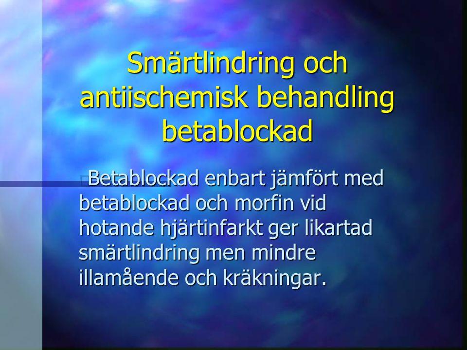 Smärtlindring och antiischemisk behandling betablockad
