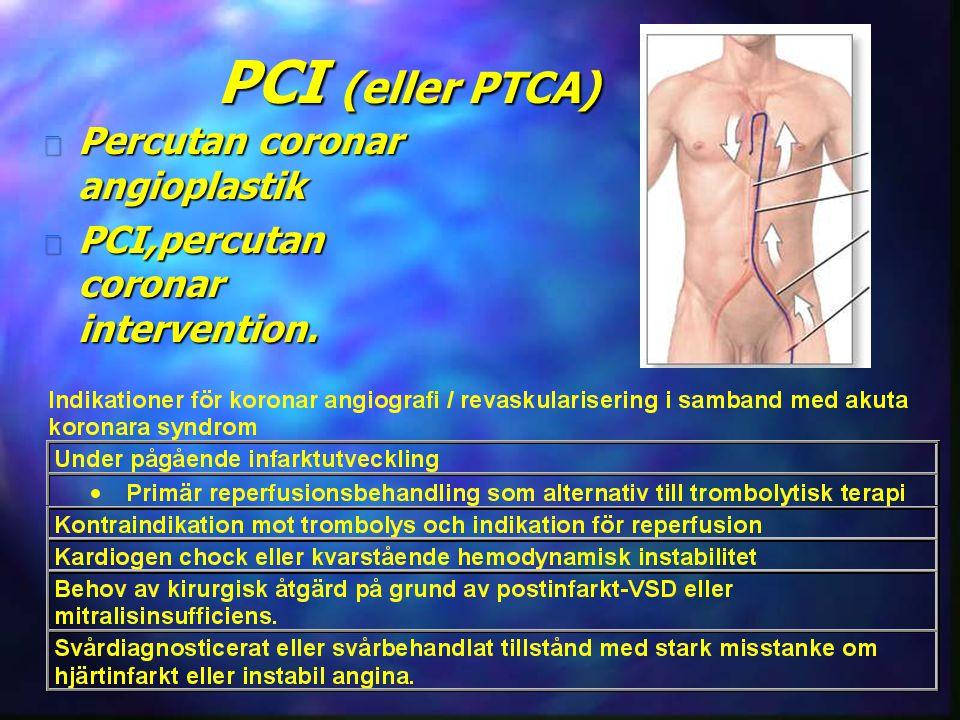 PCI (eller PTCA) Percutan coronar angioplastik