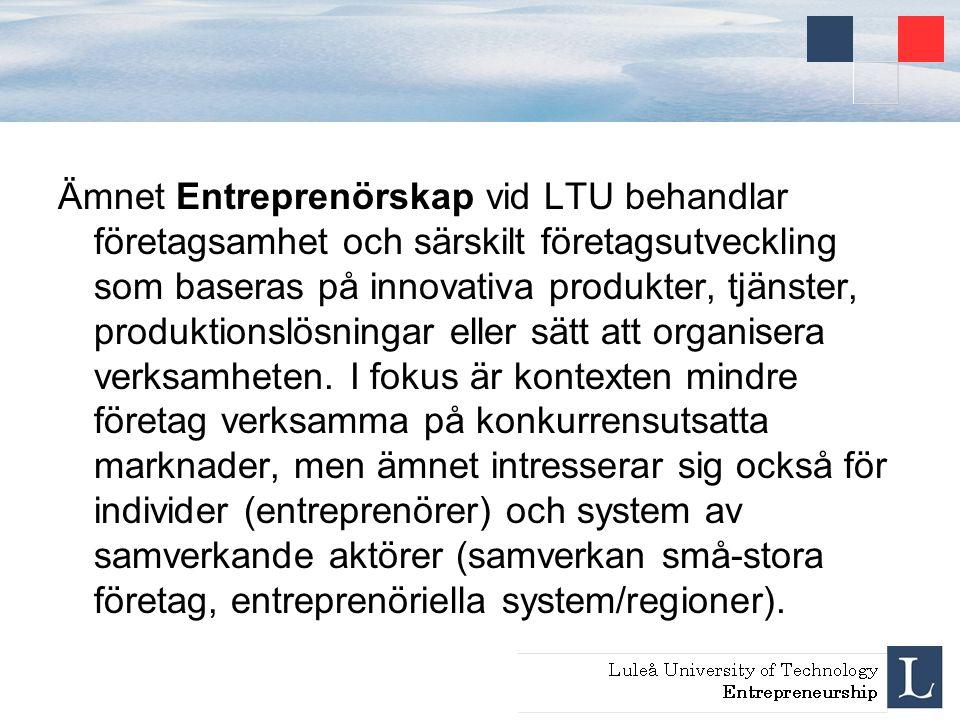Ämnet Entreprenörskap vid LTU behandlar företagsamhet och särskilt företagsutveckling som baseras på innovativa produkter, tjänster, produktionslösningar eller sätt att organisera verksamheten.