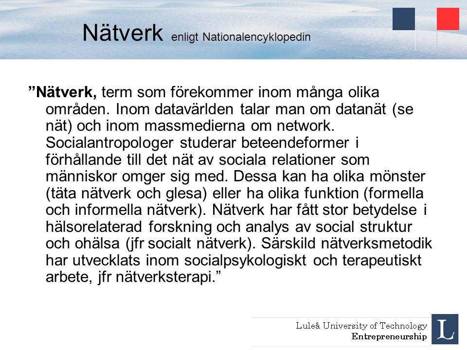 Nätverk enligt Nationalencyklopedin